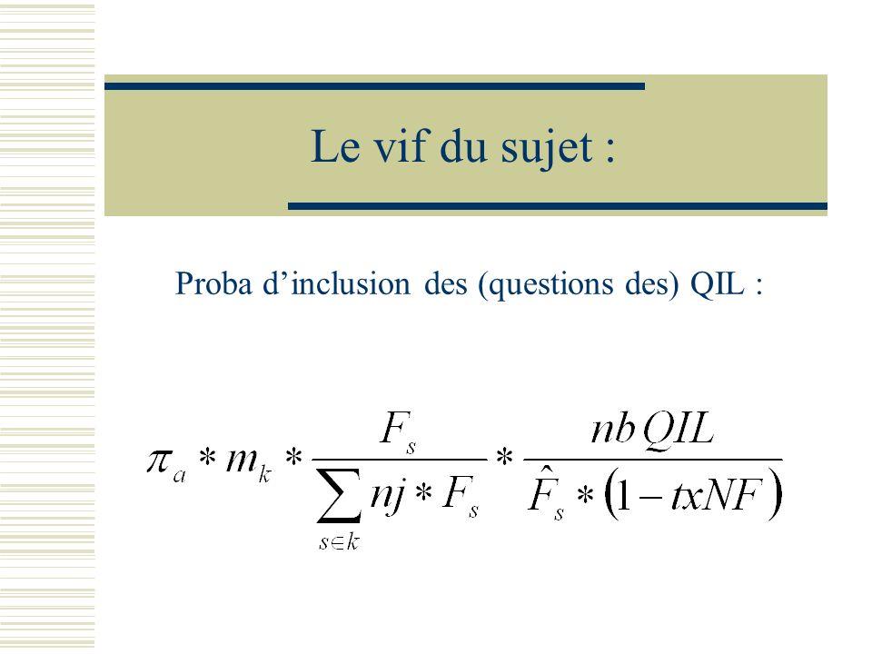 Proba d'inclusion des (questions des) QIL :