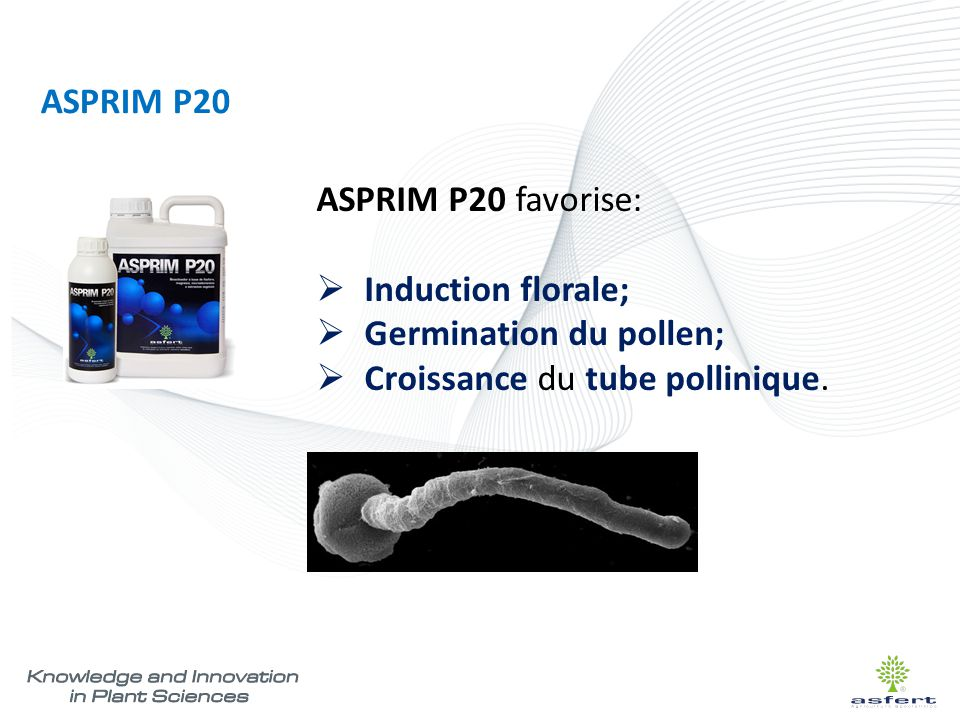 ASPRIM P20 ASPRIM P20 favorise: Induction florale; Germination du pollen; Croissance du tube pollinique.