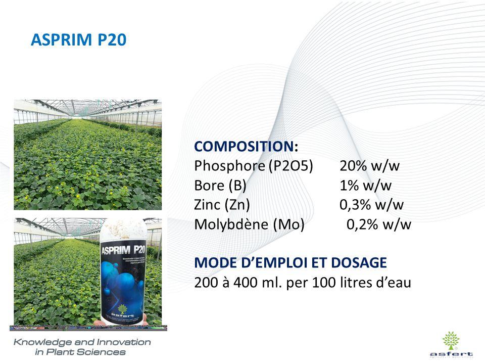 ASPRIM P20 COMPOSITION: Phosphore (P2O5) 20% w/w Bore (B) 1% w/w