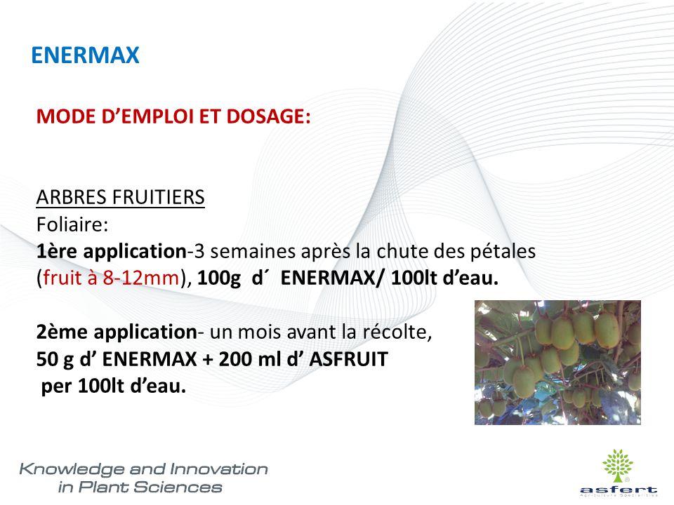 ENERMAX MODE D'EMPLOI ET DOSAGE: ARBRES FRUITIERS Foliaire: