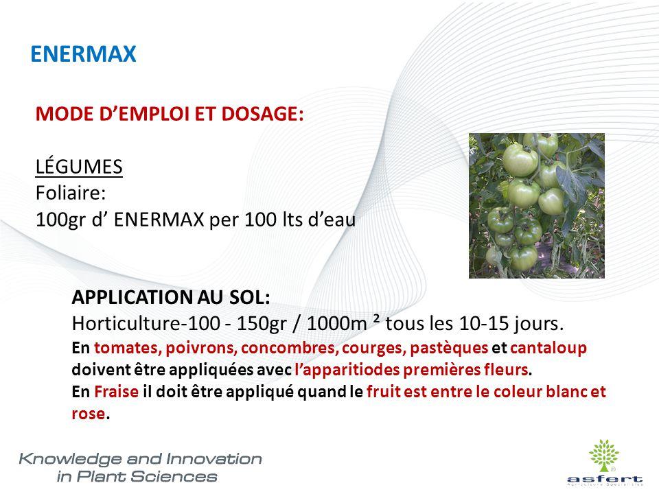 ENERMAX MODE D'EMPLOI ET DOSAGE: LÉGUMES Foliaire: