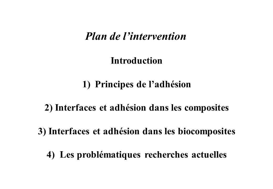 Plan de l'intervention