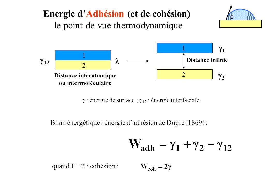 Energie d'Adhésion (et de cohésion)