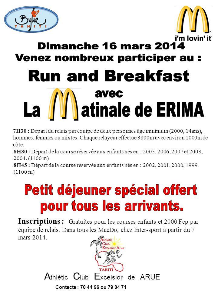 Venez nombreux participer au : Run and Breakfast