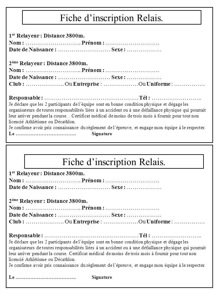 Fiche d'inscription Relais.