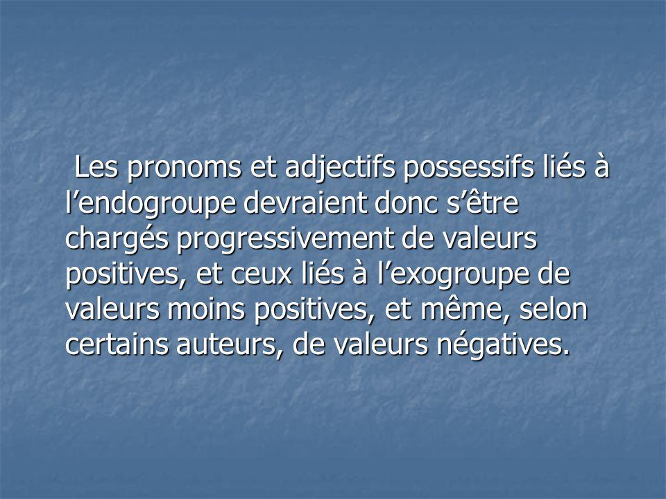 Les pronoms et adjectifs possessifs liés à l'endogroupe devraient donc s'être chargés progressivement de valeurs positives, et ceux liés à l'exogroupe de valeurs moins positives, et même, selon certains auteurs, de valeurs négatives.
