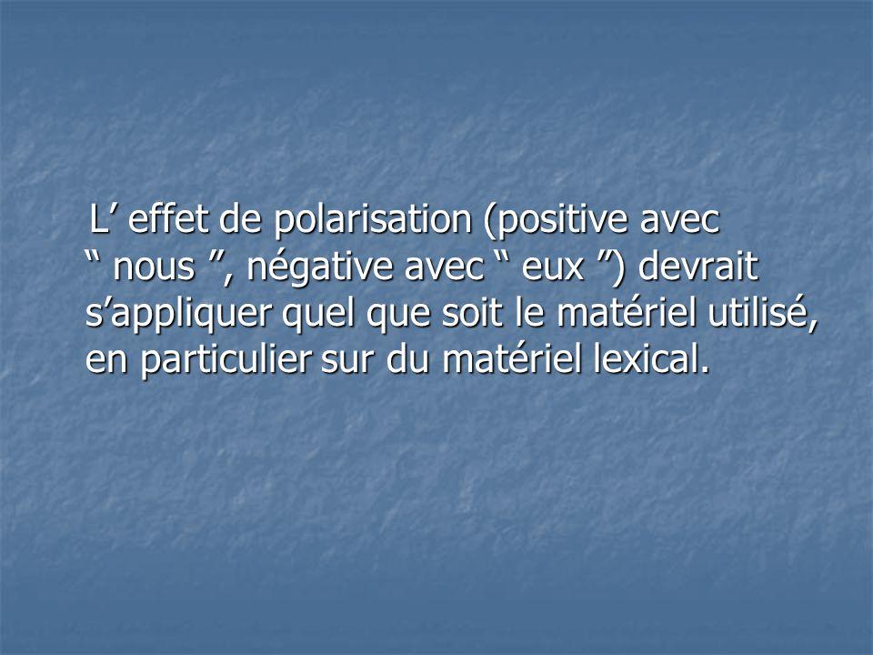L' effet de polarisation (positive avec nous , négative avec eux ) devrait s'appliquer quel que soit le matériel utilisé, en particulier sur du matériel lexical.