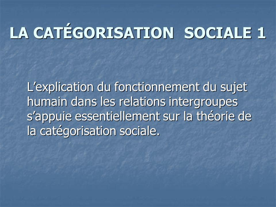 LA CATÉGORISATION SOCIALE 1