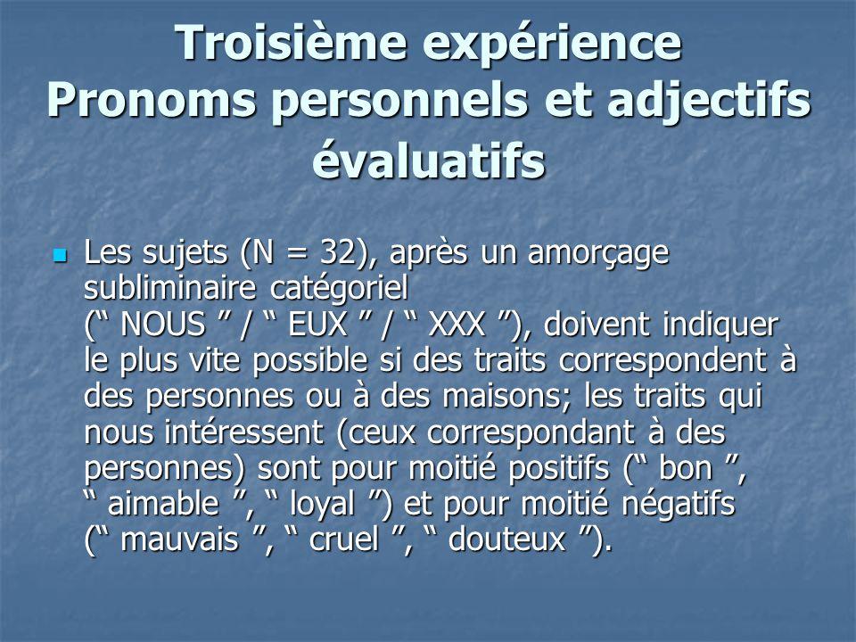 Troisième expérience Pronoms personnels et adjectifs évaluatifs