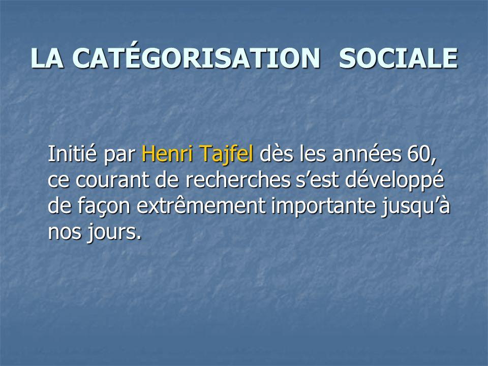 LA CATÉGORISATION SOCIALE