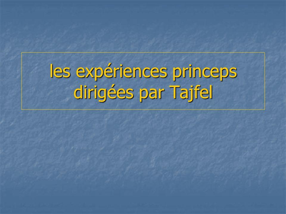 les expériences princeps dirigées par Tajfel