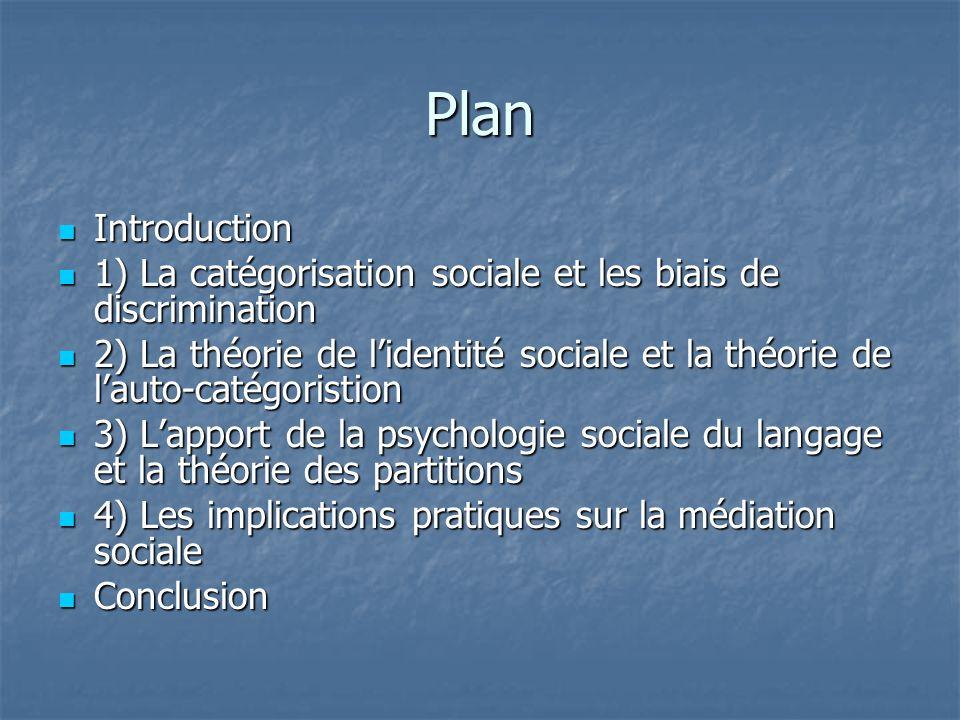 Plan Introduction. 1) La catégorisation sociale et les biais de discrimination.