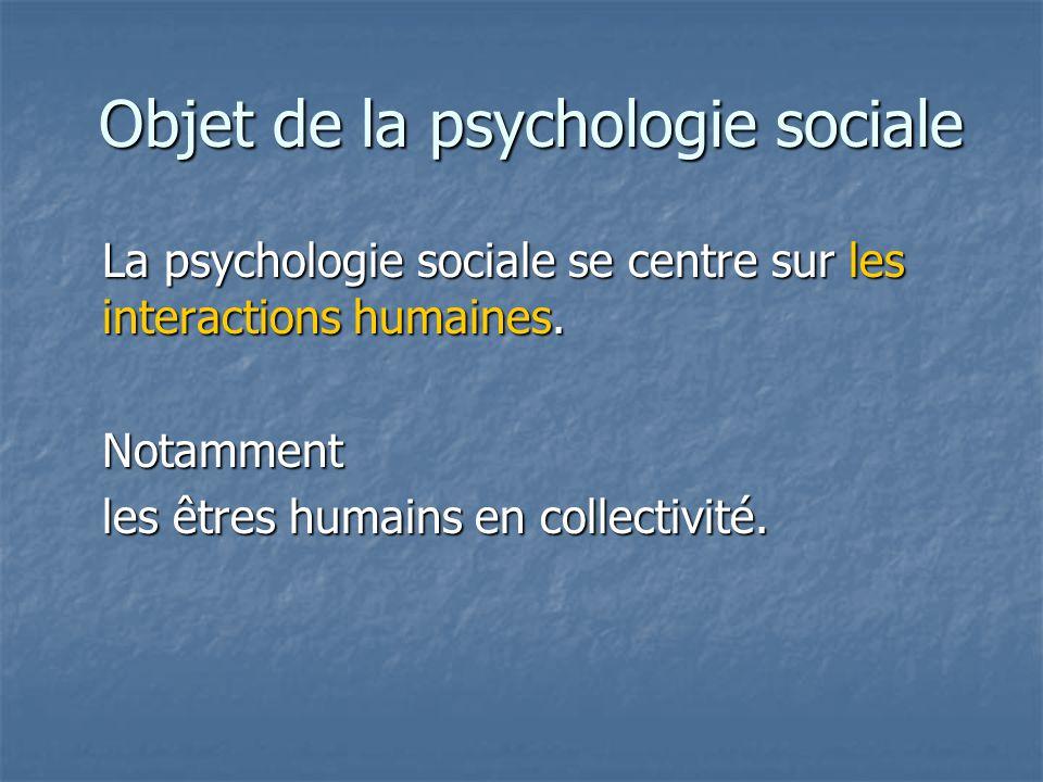 Objet de la psychologie sociale