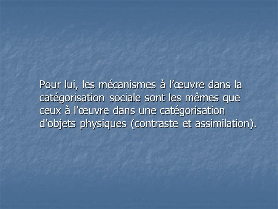 Pour lui, les mécanismes à l'œuvre dans la catégorisation sociale sont les mêmes que ceux à l'œuvre dans une catégorisation d'objets physiques (contraste et assimilation).
