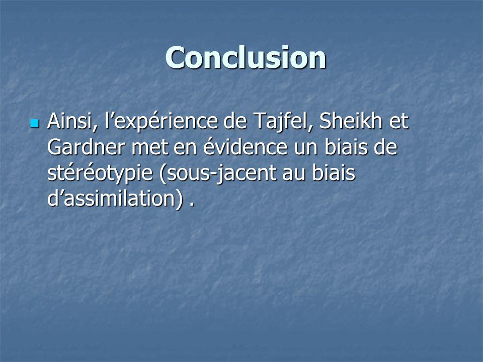 Conclusion Ainsi, l'expérience de Tajfel, Sheikh et Gardner met en évidence un biais de stéréotypie (sous-jacent au biais d'assimilation) .