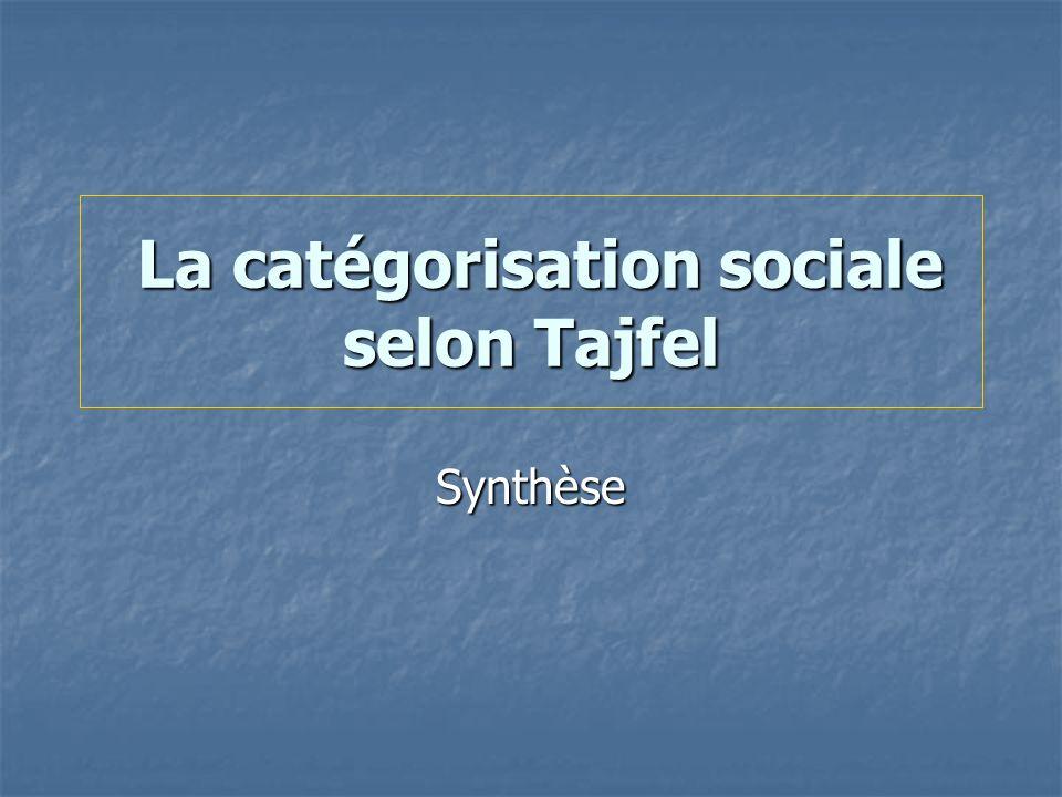 La catégorisation sociale selon Tajfel