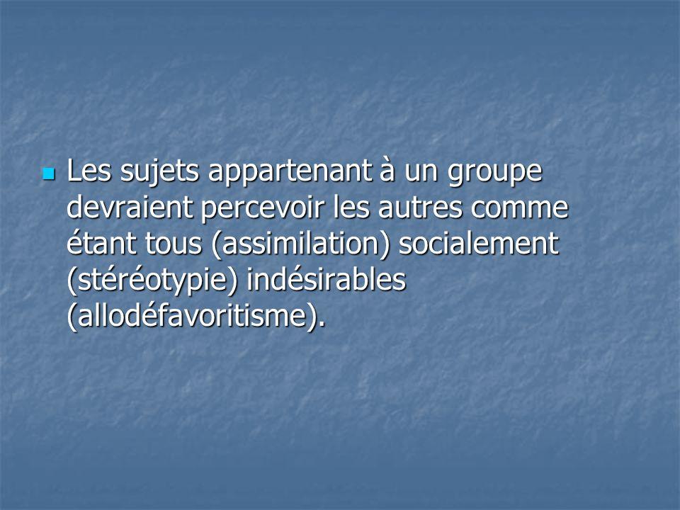 Les sujets appartenant à un groupe devraient percevoir les autres comme étant tous (assimilation) socialement (stéréotypie) indésirables (allodéfavoritisme).