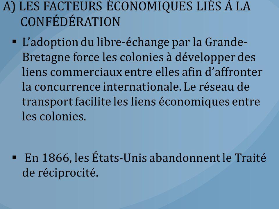 A) LES FACTEURS ÉCONOMIQUES LIÉS À LA CONFÉDÉRATION