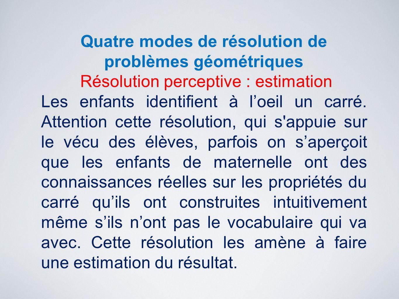 Quatre modes de résolution de problèmes géométriques