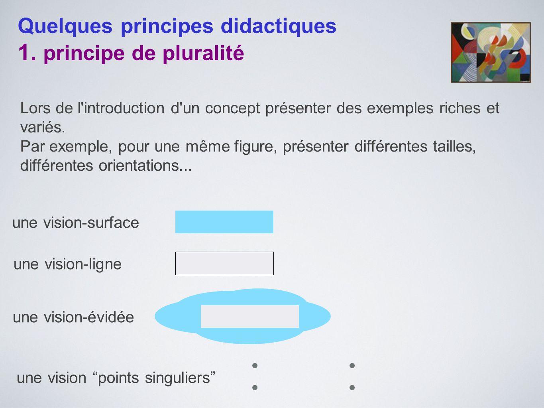 Quelques principes didactiques 1. principe de pluralité