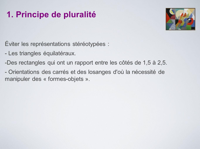1. Principe de pluralité Éviter les représentations stéréotypées :