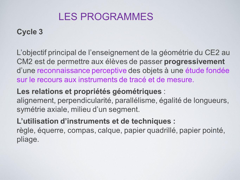 LES PROGRAMMES Cycle 3.
