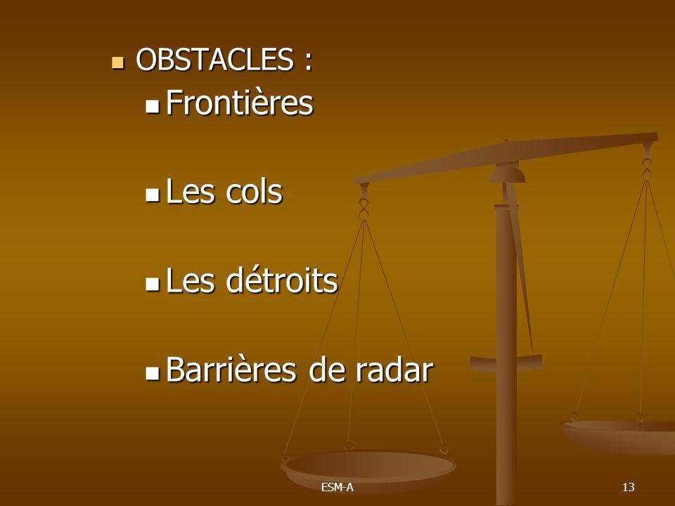 OBSTACLES : Frontières Les cols Les détroits Barrières de radar ESM-A