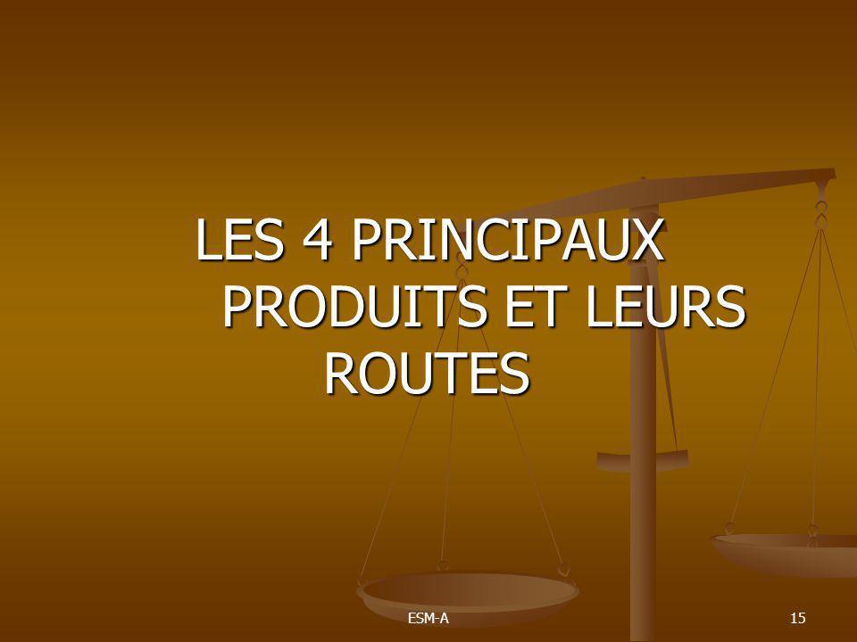 LES 4 PRINCIPAUX PRODUITS ET LEURS ROUTES