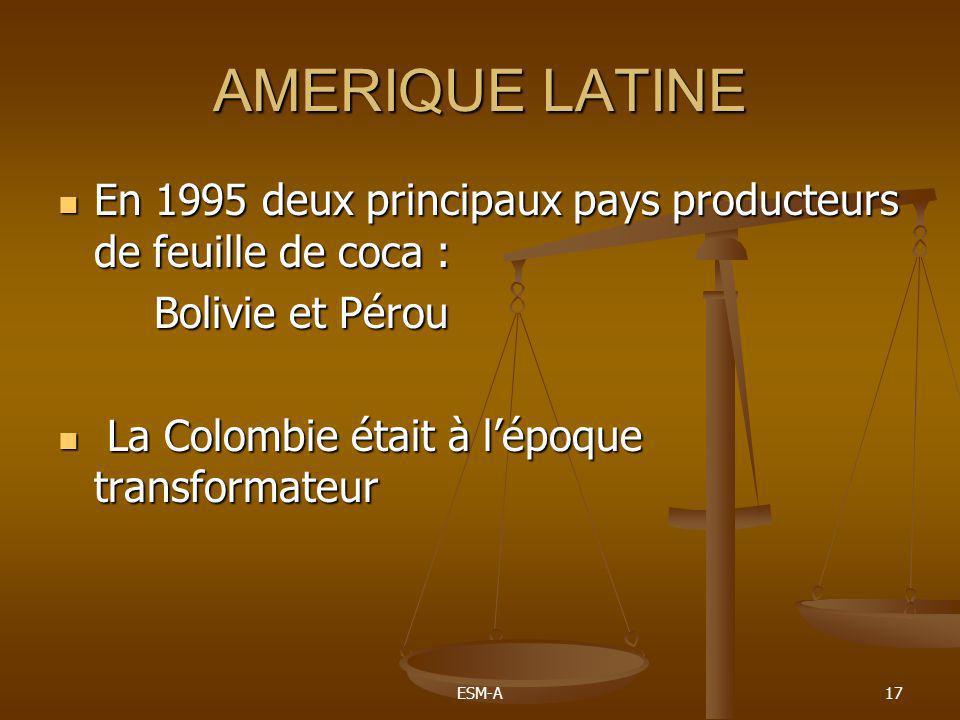 AMERIQUE LATINE En 1995 deux principaux pays producteurs de feuille de coca : Bolivie et Pérou. La Colombie était à l'époque transformateur.
