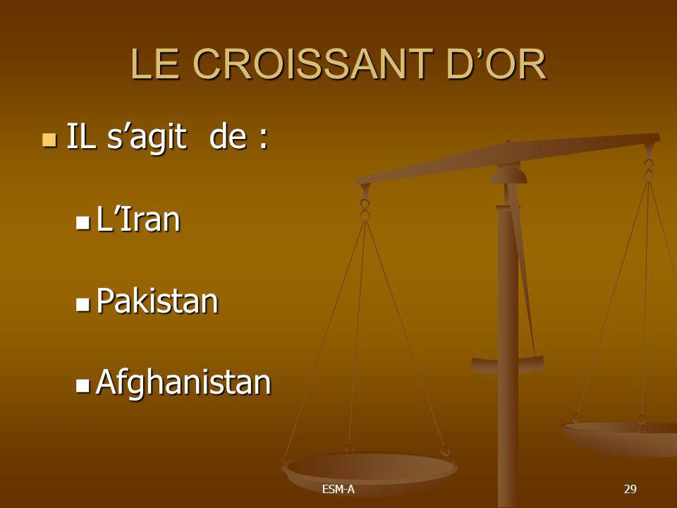 LE CROISSANT D'OR IL s'agit de : L'Iran Pakistan Afghanistan ESM-A