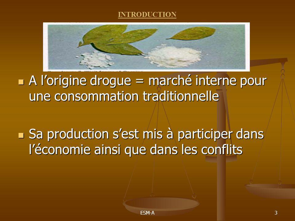 INTRODUCTION A l'origine drogue = marché interne pour une consommation traditionnelle.