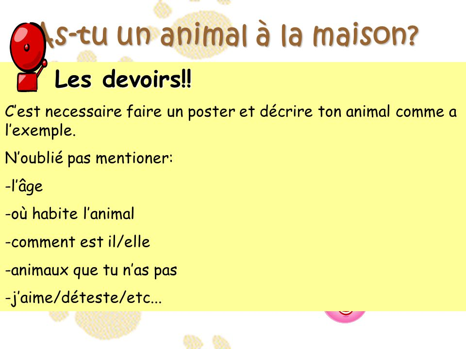 as tu un animal la maison ppt t l charger