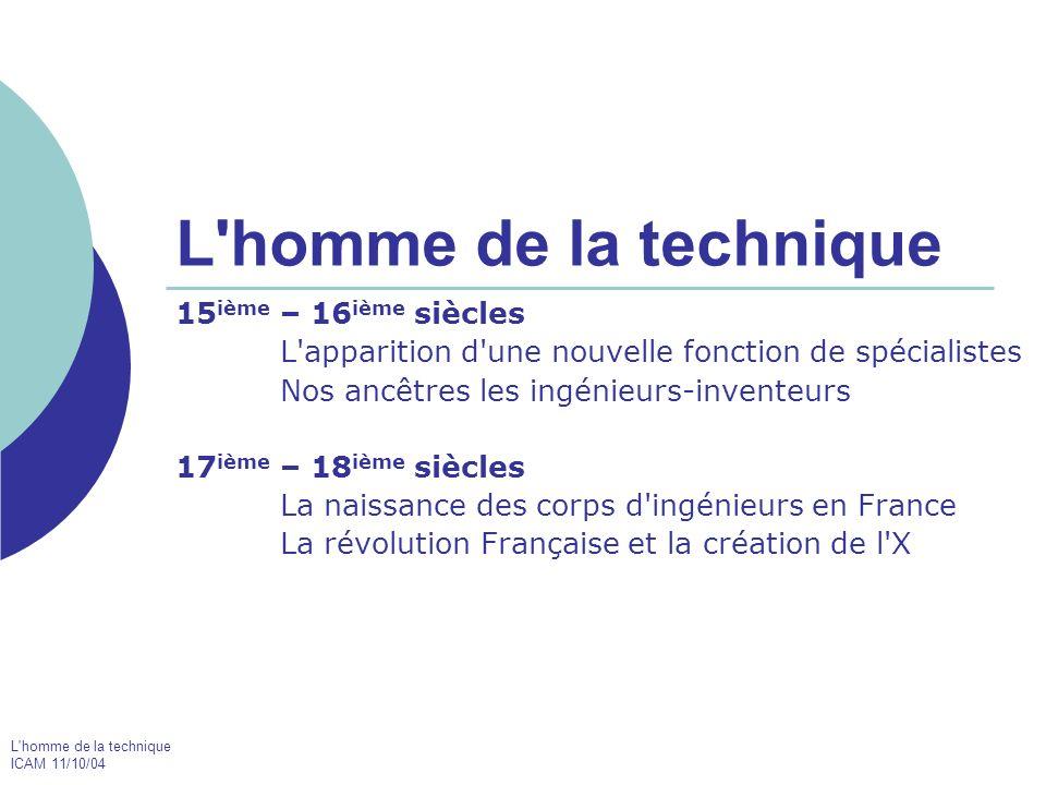 L homme de la technique 15ième – 16ième siècles