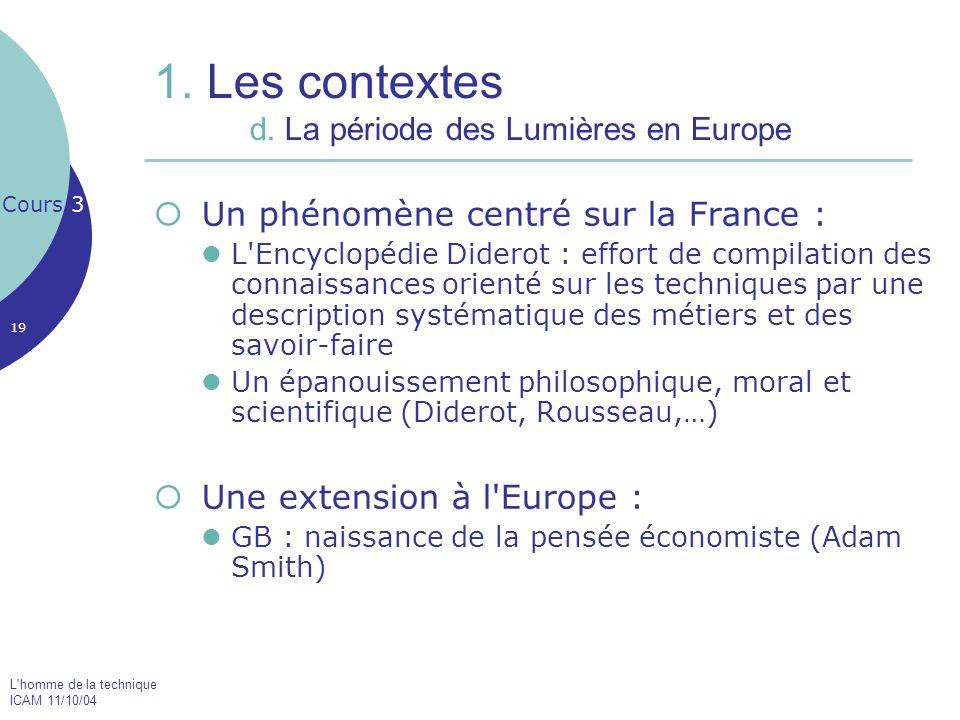 1. Les contextes d. La période des Lumières en Europe