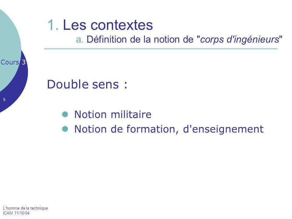 1. Les contextes a. Définition de la notion de corps d ingénieurs