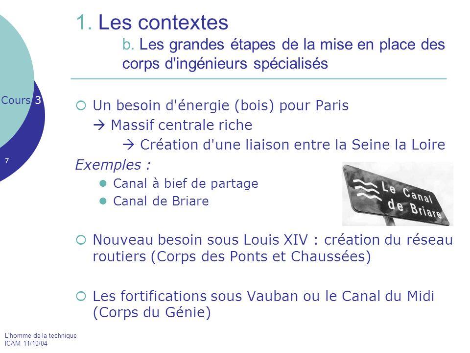 1. Les contextes. b. Les grandes étapes de la mise en place des