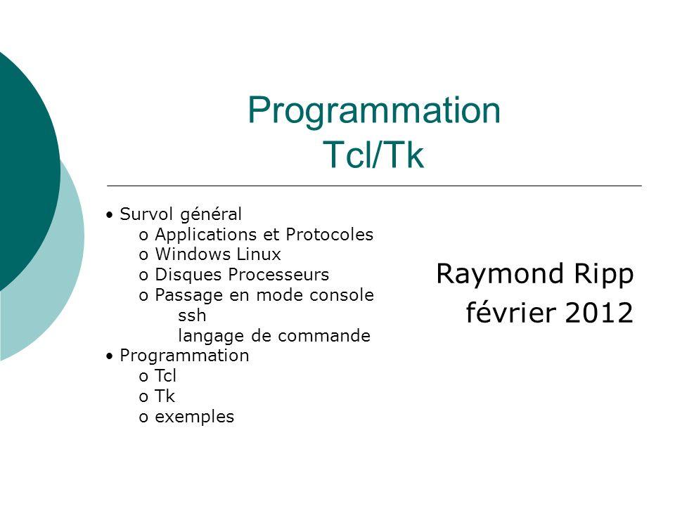 Programmation Tcl/Tk Raymond Ripp février 2012 Survol général
