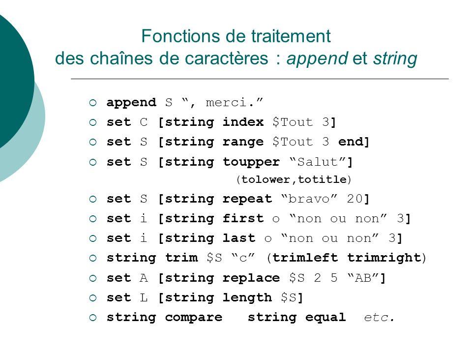 Fonctions de traitement des chaînes de caractères : append et string