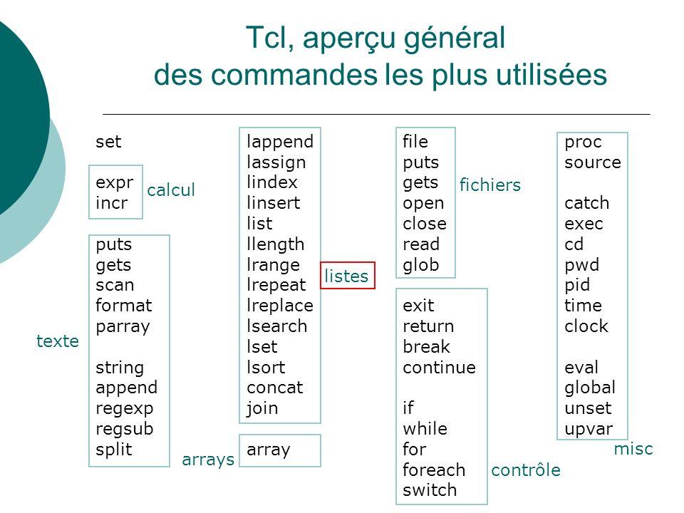 Tcl, aperçu général des commandes les plus utilisées