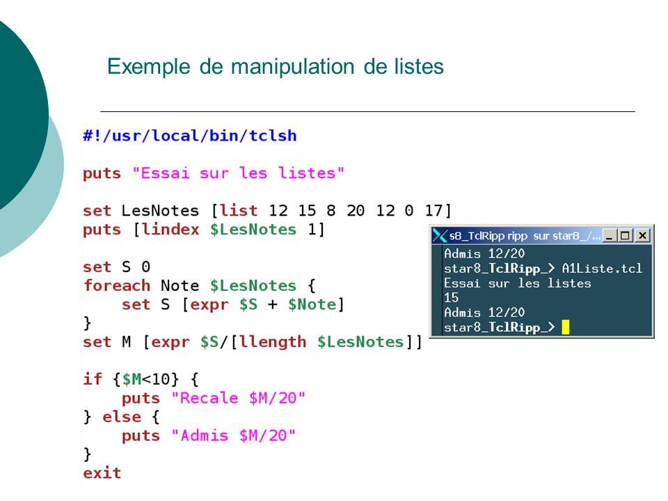 Exemple de manipulation de listes