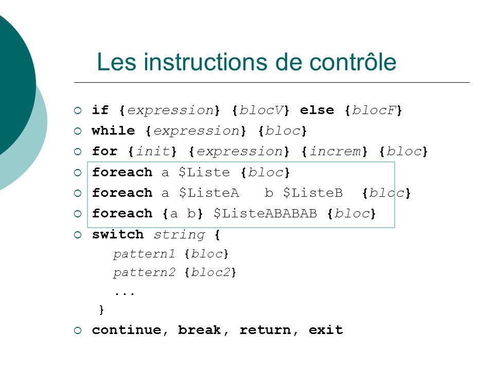 Les instructions de contrôle