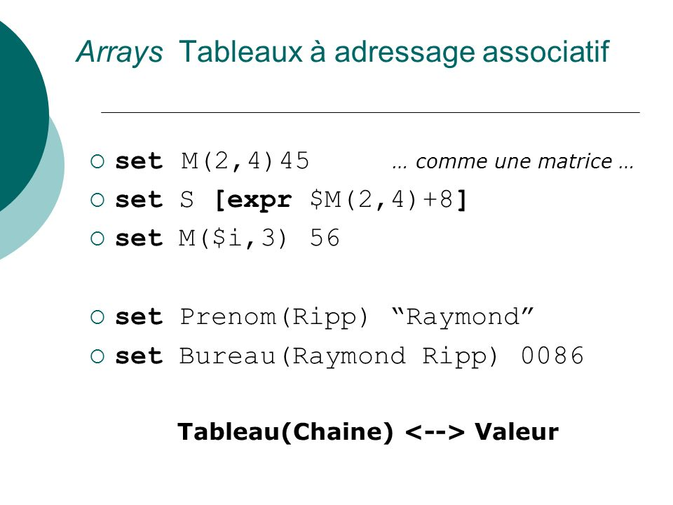 Arrays Tableaux à adressage associatif