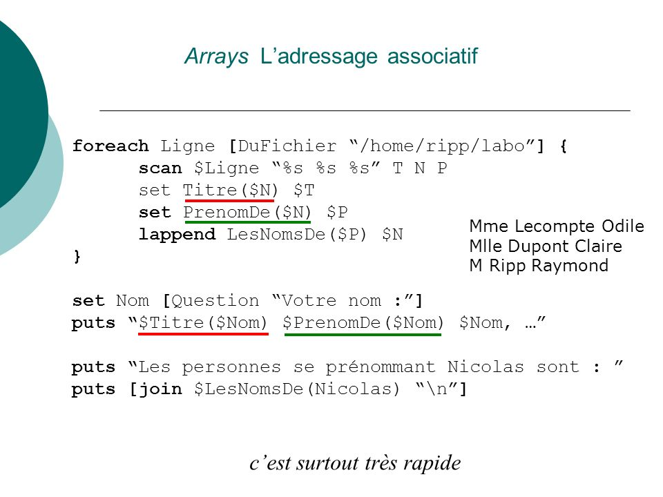 Arrays L'adressage associatif