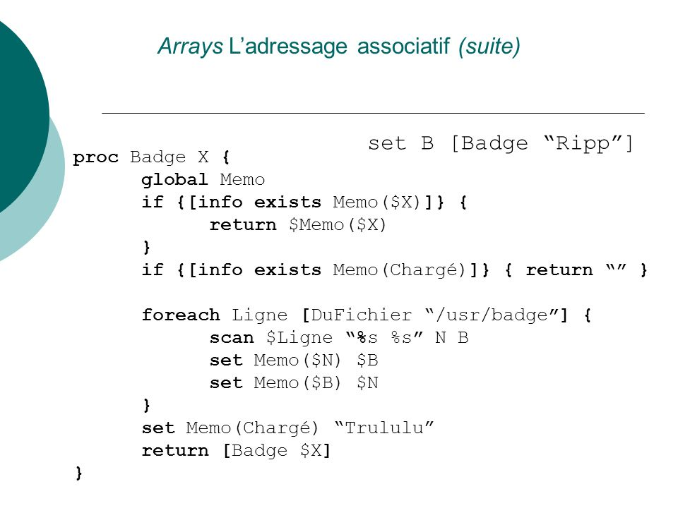 Arrays L'adressage associatif (suite)