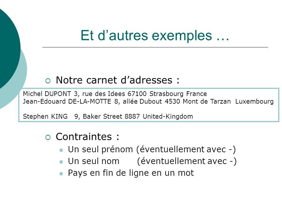 Et d'autres exemples … Notre carnet d'adresses : Contraintes :