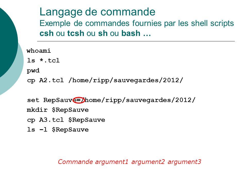 Langage de commande Exemple de commandes fournies par les shell scripts csh ou tcsh ou sh ou bash …