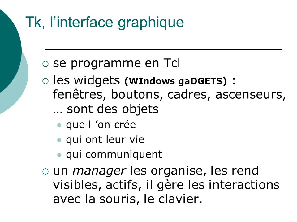 Tk, l'interface graphique