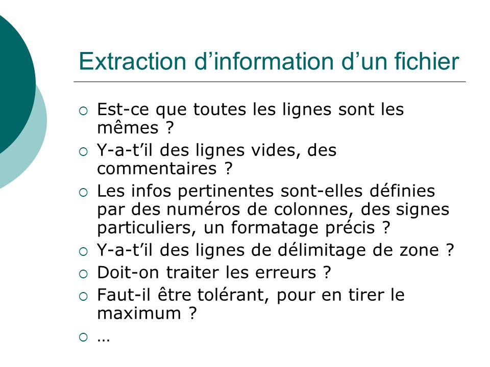 Extraction d'information d'un fichier