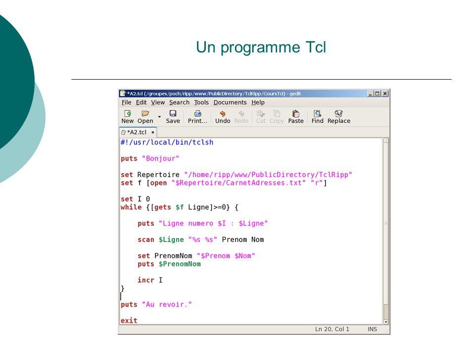 Un programme Tcl Nous verrons plus tard comment lancer une programme.