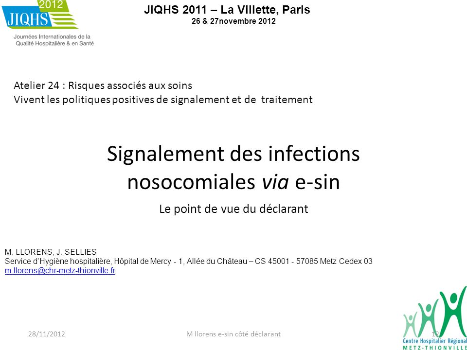 Signalement des infections nosocomiales via e-sin